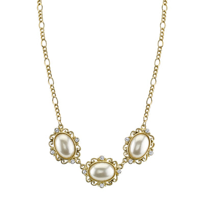 Gold Tone Costume Pearl Crystal Collar Necklace