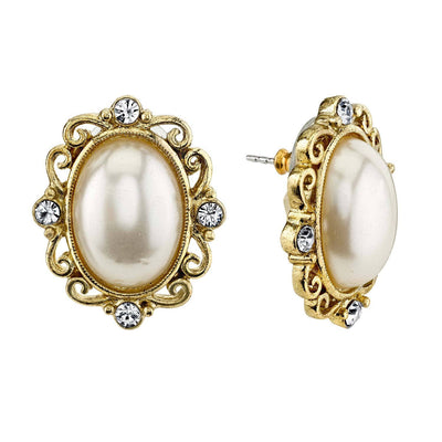 Gold Tone Costume Pearl And Crystal Oval Button Earring