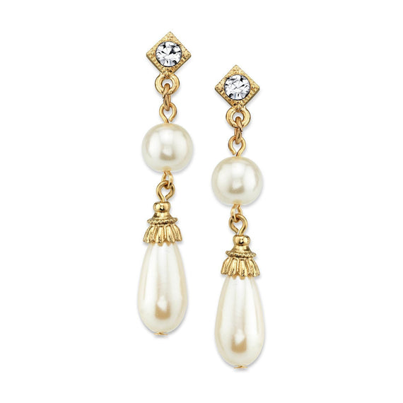 Gold Tone Costume Pearl Crystal Accent Drop Earrings