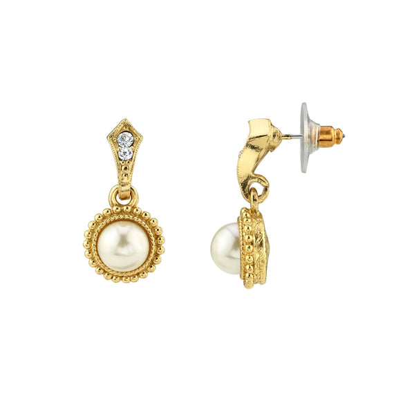 Gold Tone Costume Pearl Crystal Drop Earrings