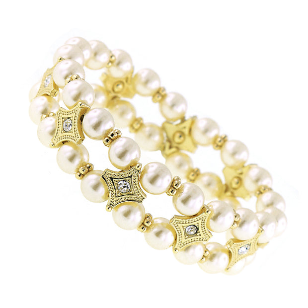 Gold Tone Crystal Costume Pearl Stretch Bracelet