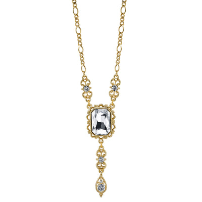 Rectangular Crystal Pendant With Drop Necklace 16 - 19 Inch Adjustable
