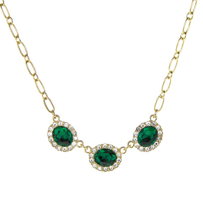 Gold Tone Peridot Green Color With Crystal Accent Necklace 16 - 19 Inch Adjustable