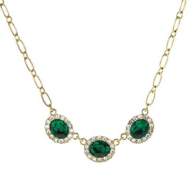 Gold Tone Peridot Green Color with Crystal Accent Necklace 16 In Adj