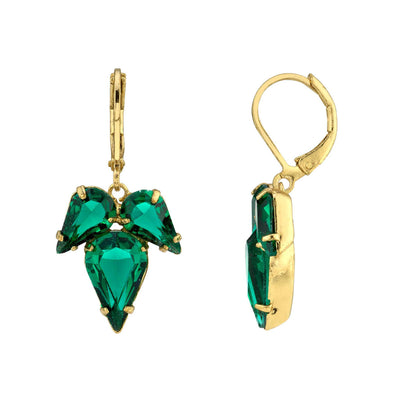 Gold Tone Green Swarovski Crystal Teardrop Earring