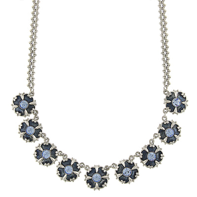 Silver Tone Light & Dark Blue Crystal & Enamel Collar Necklace 16 In Adj