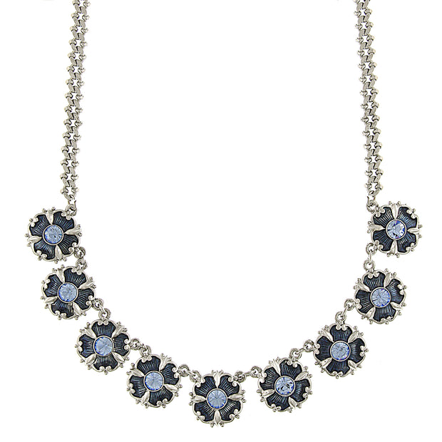 Silver Tone Light & Dark Blue Crystal & Enamel Collar Necklace 16 - 19 Inch Adjustable