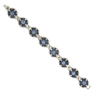 Downton Abbey Silver Tone Light & Dark Blue Crystal & Enamel Link Clasp Bracelet