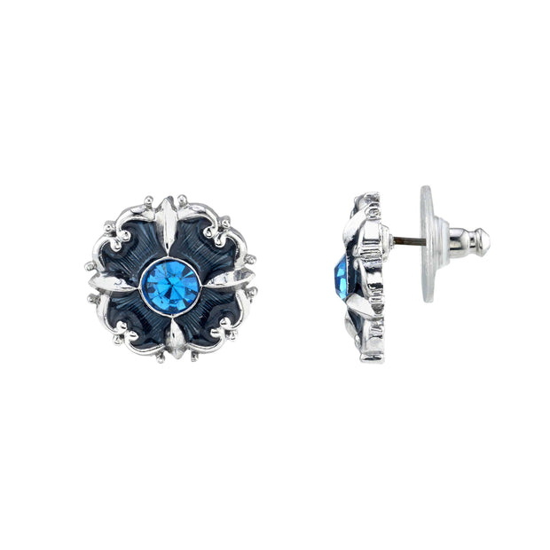 Silver Tone Light & Dark Blue Crystal & Enamel Button Earrings