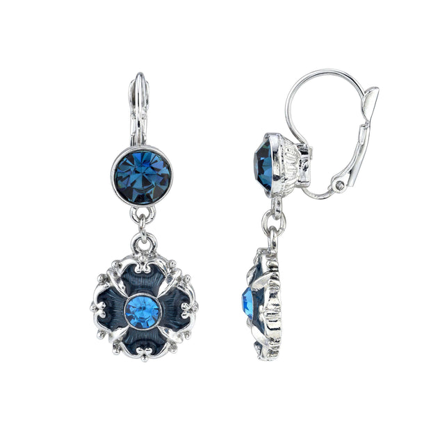 Silver Tone Dark & Light Blue Crystal & Enamel Drop Earrings