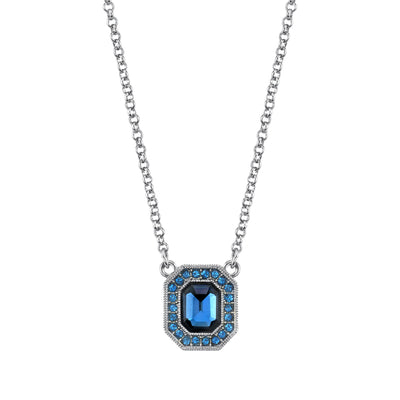 Silver Tone Light & Dark Blue Crystal & Enamel Octagon Necklace 16 - 19 Inch Adjustable