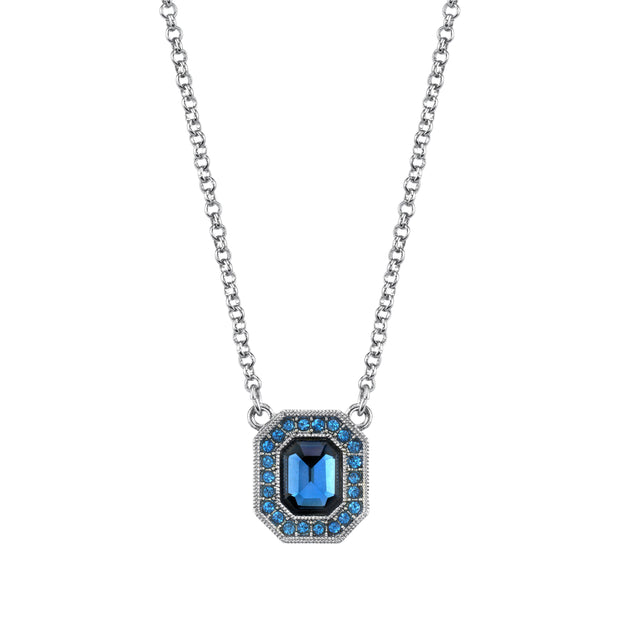 Silver Tone Light & Dark Blue Crystal & Enamel Octagon Necklace 16   19 Inch Adjustable