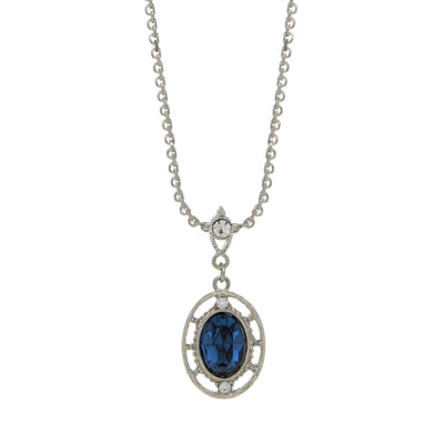 Silver Tone Crystal Dark Blue Oval Drop Necklace 14 Inch Adjustable