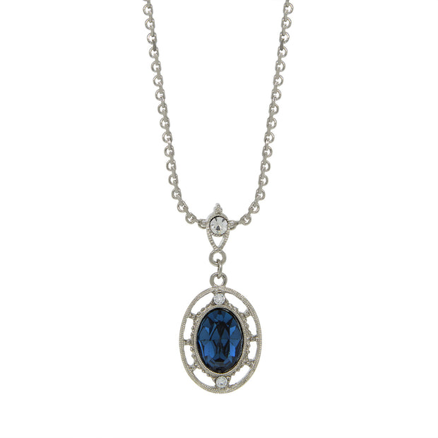 Silver Tone Crystal Dark Blue Oval Drop Necklace