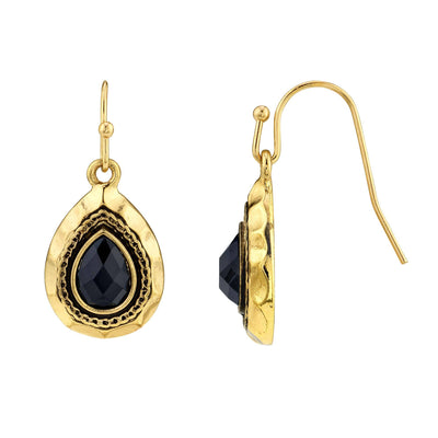 Gold Tone Black Teardrop Earrings