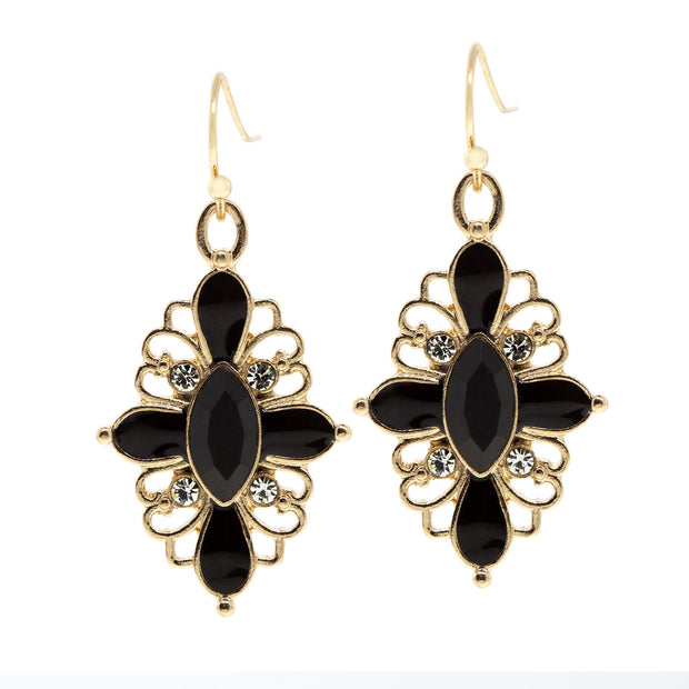 Gold Tone Crystal Jet Oval Drop Earring