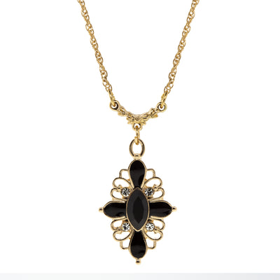 Gold Tone Black & Clear Crystal Drop Necklace 16   19 Inch Adjustable