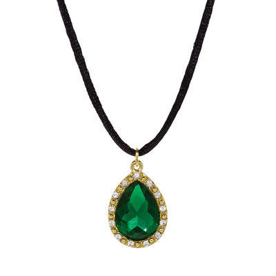 Gold Tone Crystal Emerald Green Teardrop On Black Cord Necklace 15 In Adj