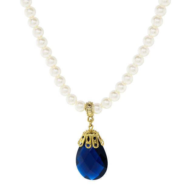 Gold Tone Blue Faceted Teardrop Crystal On Costume Pearl Necklace 16 - 19 Inch Adjustable