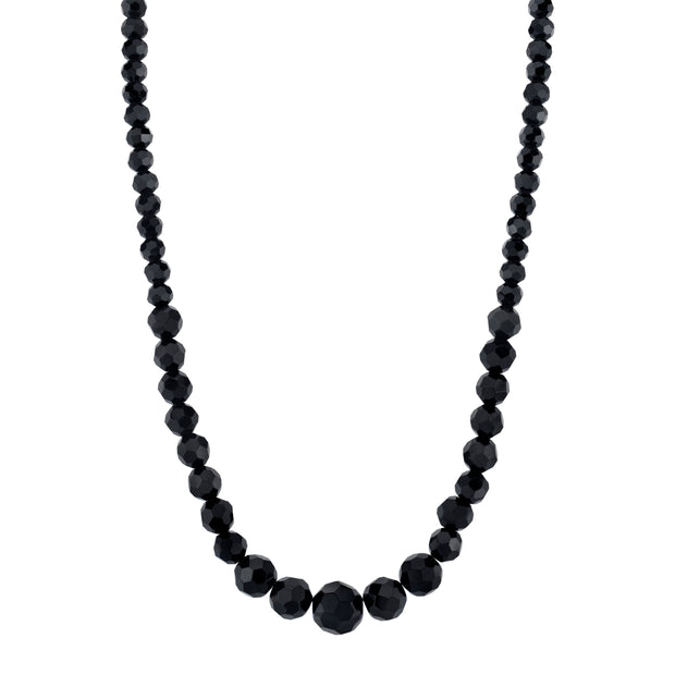 Black Beaded Necklace 15 Inch Adjustable