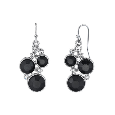 Silver Tone Black Chrystal Chanel Cluster Drop Earrings