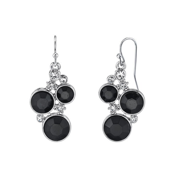 Silver Tone Black Chrystal Channel Cluster Drop Earrings