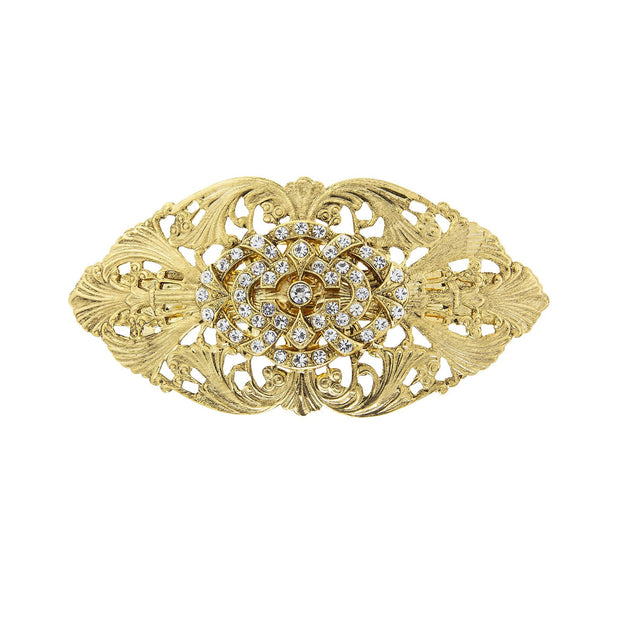Gold Tone Crystal Filigree Hair Barrette