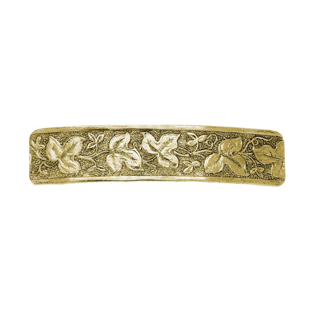 Gold Tone Floral Leaf Rectangle Barrette