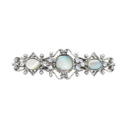 Silver Tone Crystal Mother Of Pearl Ornate Barrette