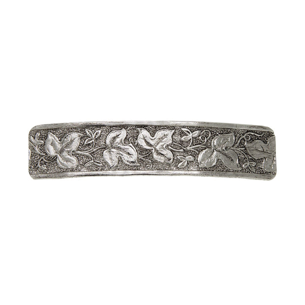 Silver Tone Floral Leaf Rectangle Barrette