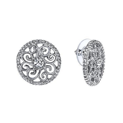 Silver Tone Crystal Round Button Earrings