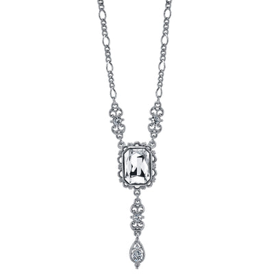 Silver Tone Square Crystal Drop Necklace 16 - 19 Inch Adjustable
