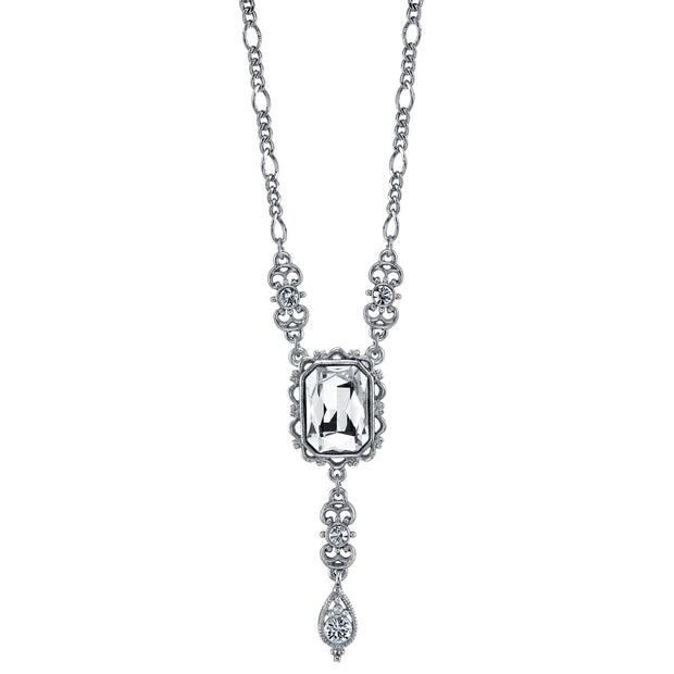 Silver Tone Square Crystal Drop Necklace 16 In Adj