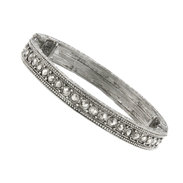 Downton Abbey Silver Tone Crystal Stretch Bracelet