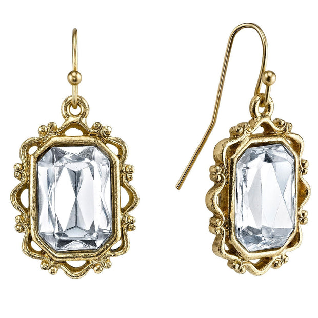 Gold Tone Crystal Rectangle Faceted Drop Earrings