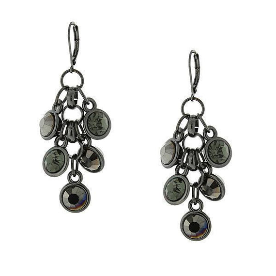 Black-Tone Black Diamond Color Shaky Drop Earrings