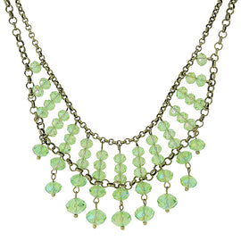Gold-Tone Green Beaded Necklace 16 In Adj