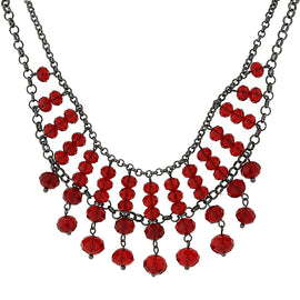 Fashion Jewelry - Alex Nicole Black-Tone Faceted Red Bead Statement Necklace
