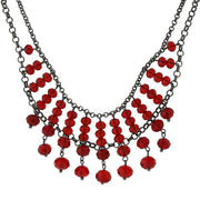 Silver-Tone Beaded Necklace 16 - 19 Inch Adjustable Red