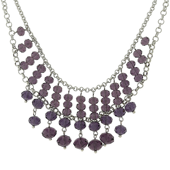 Silver Tone Faceted Purple Bead Statement Necklace