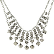 Silver-Tone Beaded Necklace 16 - 19 Inch Adjustable Light Black