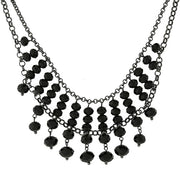 Silver-Tone Beaded Necklace 16 - 19 Inch Adjustable Black