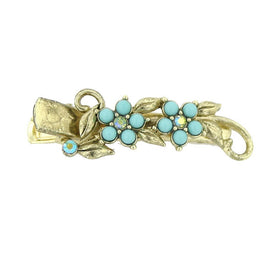 Gold-Tone Imitation Turquoise with Green AB Crystal Flower Hair Clip