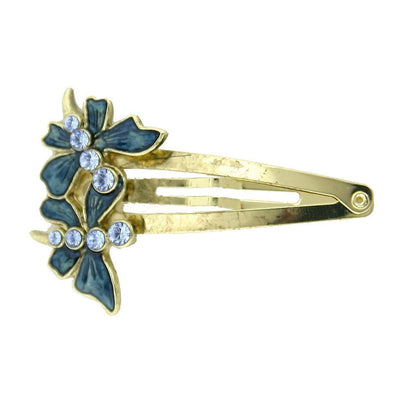 Gold-Tone Light Sapphire Crystal and Dark Blue Enamel Butterfly Snap Hair Clip