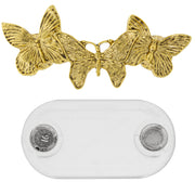 1928 Jewelry Magcessory Triple Butterfly Magnetic Eyeglass Holder Brooch, Scarf Pin, Cardigan Closure Set