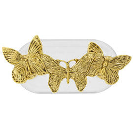 Magcessory 14K Gold Dipped Triple Butterfly Magnetic Eyeglass Holder Brooch, Scarf Pin, Cardigan Closure Set