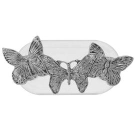 Magcessory Pewter Triple Butterfly Magnetic Eyeglass Holder Brooch, Scarf Pin, Cardigan Closure Set