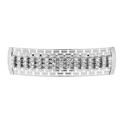 Silver Tone Large Clear Multi Crystal Hair Barrette