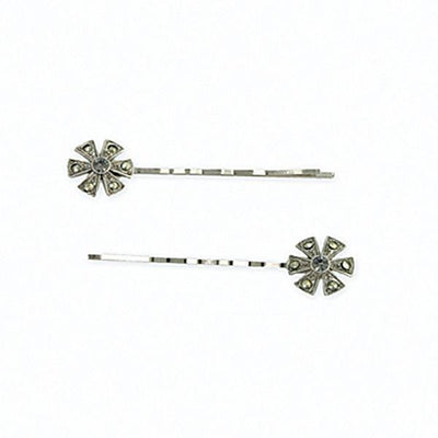 Silver-Tone Imitation Marcasite Floral Bobby Pins Set