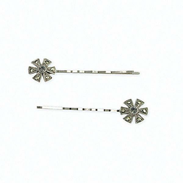 Silver Tone Imitation Marcasite Floral Bobby Pins Set